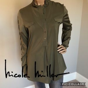 NICOLE MILLER Military Inspired Silk Blouse